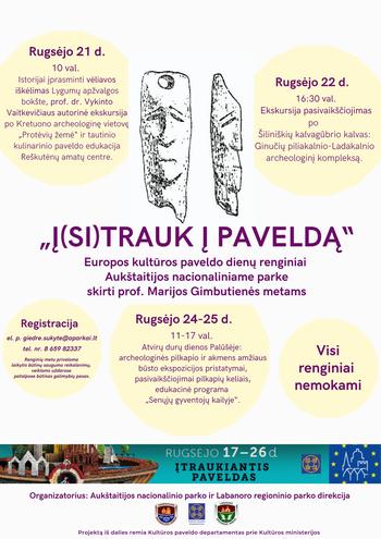 Europos paveldo dienų renginiai Aukštaitijos nacionaliniame parke skirti prof. Marijos Gimbutienės metams